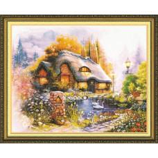 51239 Картина со стразами 5D 'Дом у пруда', 81x67см