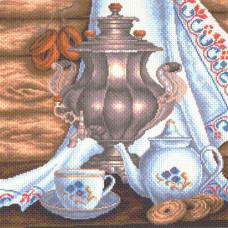 1413 Канва с рисунком 'Матренин посад' 'Натюрморт с самоваром', 41*41 см
