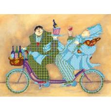 В1086 Канва с рисунком Alisena 'Повара на велосипеде', 25*33 см