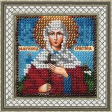 221ПМИ Набор для вышивания бисером 'Вышивальная мозаика' Икона 'Св. Муч. Христина Лампсакийская', 6,5*6,5 см