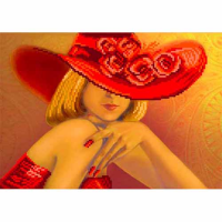 4108 Рисунок на шелке Матренин посад 'Дама в красном' 24*30см (28*34см)