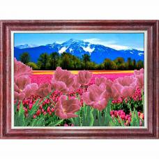 КБП-3054 Канва с рисунком для бисера 'Тюльпаны у гор' А3