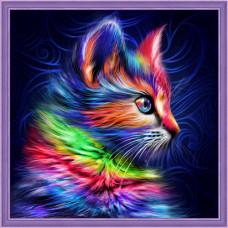 АЖ-1777 Картина стразами «Разноцветный котенок» 30*30см