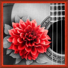 АЖ-1772 Картина стразами «Цветок на гитаре» 25*25см