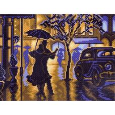 АЖ-1711 Картина стразами 'Неоновый хаски' 25*25см