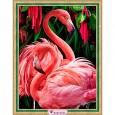 АЖ-1739 Картина стразами «Пара фламинго» 30*40см