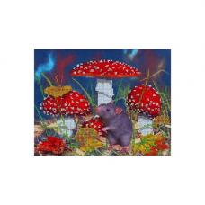 НР-3089 Канва с рисунком для вышивания бисером 'В мухоморах' Hobby&Pro 25*20см
