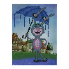 Б-0111 Набор для вышивания бисером 'Бисеринка' 'Зайка с зонтиком', 15*19,5 см