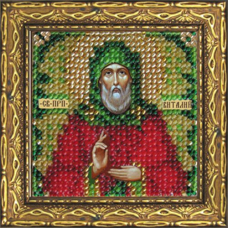 125ПМИ Набор для вышивания бисером Икона 'Вышивальная мозаика' 'Св. Прп. Виталий', 6,5*6,5 см