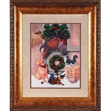 В1106 Канва с рисунком Alisena 'Новогодняя лошадь', 25*33 см