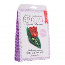 НБР-18003 Набор для вышивания бисером: Брошь «Красный тюльпан».