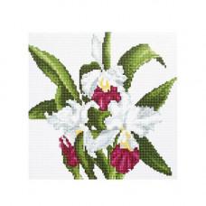 DZ002 Мозаика на деревянной основе 'Белые цветы', 30*30 см
