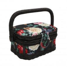 LY1632S Шкатулка малая, декоративная, Розы на черном, 17*12*9,5см