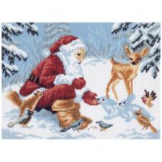 656-1 Канва с рисунком Матренин посад 'Зимние подарки' 28*37см