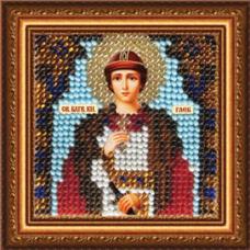 223ПМИ Набор для вышивания бисером 'Вышивальная мозаика' Икона 'Св. Блгв. князь Глеб', 6,5*6,5 см