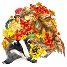 137/Б Набор для вышивания бисером Матренин посад 'Осенний барсук' 28*34см