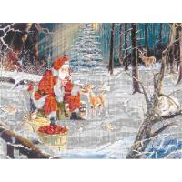 В1115 Канва с рисунком Alisena 'Санта с оленями', 36*27 см