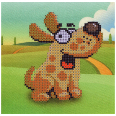 НР-12 Ткань с нанесенным рисунком и схемой для вышивания бисером 'Счастливый пес' 20*20 см