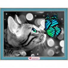 АЖ-1789 Картина стразами «Бенгал и бабочка» 40*30см