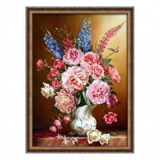 АЖ-1815 Картина стразами «Пионы с люпинами» 50*70см