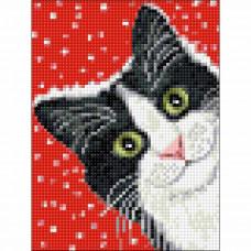 Ag 2446 Набор д/изготовления картин со стразами 'Праздничный кот' 15*20см Гранни