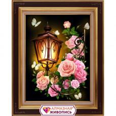 АЖ-1721 Картина стразами 'Фонарь в розах' 30*40см