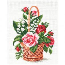 805-1 Канва с рисунком Матренин посад 'Корзина с цветами' 28*37см