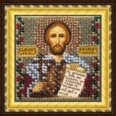 024ПМИ Набор для вышивания бисером 'Вышивальная мозаика' Икона 'Св. Князь Александр', 6,5*6,5 см