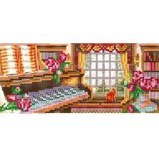 В1131 Канва с рисунком Alisena 'Кот у окна', 21*9 см