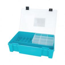 ТИП-8 Коробка с 16 катушкодержателями, вкладыш для мелких предметов и большое отделение для ножниц (бирюза)