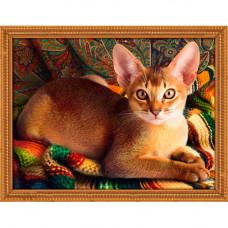 АЖ-1778 Картина стразами 'Абиссинский кот' 40*30см