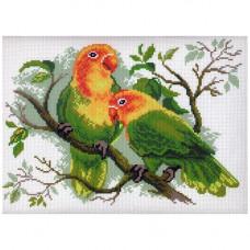 444 Канва с рисунком Матренин посад 'Попугаи неразлучники' 21*29 см (28*37 см)