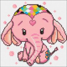 Ag 2462 Набор д/изготовления картин со стразами 'Розовый слоник' 20*20см Гранни