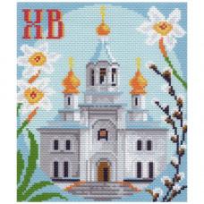 1038-1 Канва с рисунком Матренин посад 'Церковь' 16*19см (28*37см)