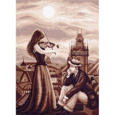 1460 Канва с рисунком Матренин посад 'Мелодия в ночи' 28*38см (37*49см)