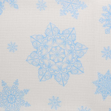 787 (802) Ткань для вышивания равномерка цветная голубые снежинки, 100% хлопок 30ct, 48*50см