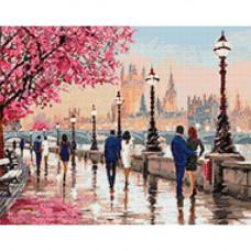 Ag 663 Набор д/изготовления картин со стразами 'Городской вечер' 48*38см Гранни
