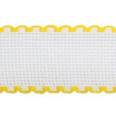 Канва 'лента', 1,5м*3,5см, 100% хлопок Bestex (белый/желтый)