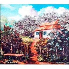 В1022 Канва с рисунком Alisena 'Садок вишневый около хаты', 24,5*22 см