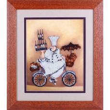 ВН1087 Набор для вышивания Alisena 'Повар на велосипеде' 25*32см