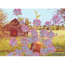 Бис3111 Рисунок на канве для вышивки бисером 'Голубые цветочки'