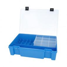 ТИП-8 Коробка с 16 катушкодержателями, вкладыш для мелких предметов и большое отделение для ножниц (голубой)
