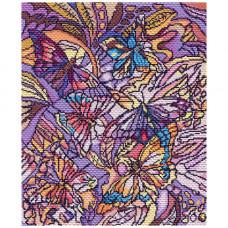1802 Канва с рисунком Матренин посад 'Витраж с бабочками' 37*49см