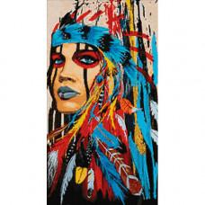 Ag 593 Набор д/изготовления картин со стразами 'Женщина-вождь'38*70см Гранни