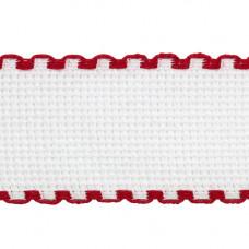Канва 'лента', 1,5м*3,5см, 100% хлопок Bestex (белый/красный)