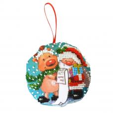 БИ-100 Набор для вышивания бисером'Созвездие'. Новогодняя игрушка 'Дедушка мороз '8,5*8,5см