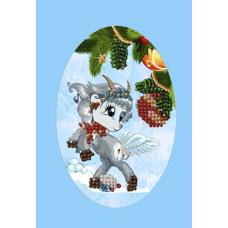 213 ОТ Набор для вышивания открытки бисером Вышивальная мозаика 'Желаю счастья! Козочка' 10*15см