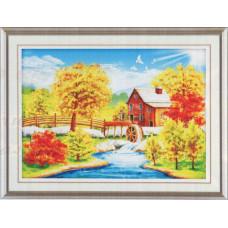 9071 Картина со стразами 'Осенний домик', 94*69см