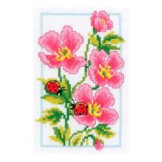 PN-0146886 Набор для вышивания Vervaco 'Розовая герань' 8*12см