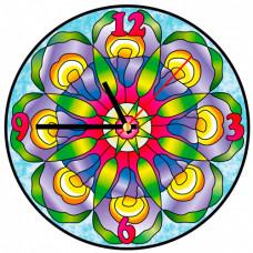 HV008 Витражные часы Колор Кит 'Хрустальные ирисы ' диаметр 30см